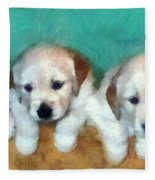 Golden Puppies Fleece Blanket