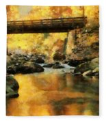 Golden Reflection Autumn Bridge Fleece Blanket