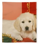 Golden Retriever Amongst Presents Fleece Blanket