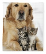 Golden Retriever And Kittens Fleece Blanket