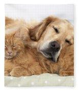 Golden Retriever And Orange Cat Fleece Blanket
