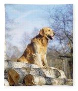 Golden Retriever Dog On Logs Fleece Blanket