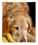 Golden Retriever Dog On The Yellow Blanket Fleece Blanket