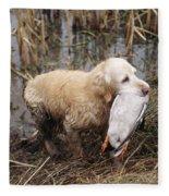 Golden Retriever Dog With Mallard Duck Fleece Blanket