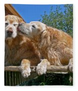Golden Retriever Dogs The Kiss Fleece Blanket