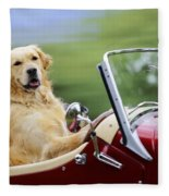 Golden Retriever In Car Fleece Blanket