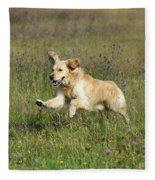 Golden Retriever Running Fleece Blanket
