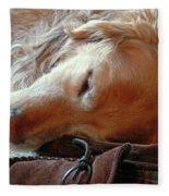 Golden Retriever Sleeping With Dad's Slippers Fleece Blanket