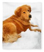 Golden Retriever Snowball Fleece Blanket