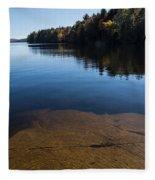 Golden Ripples Bedrock - Fall Reflection Tranquility Fleece Blanket