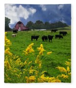 Golden Rod Black Angus Cattle  Fleece Blanket