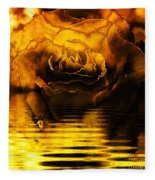 Golden Rose On The Lake Fleece Blanket