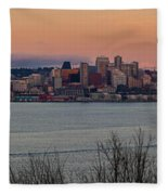 Golden Seattle Skyline Sunset Fleece Blanket