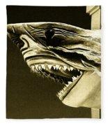 Golden Shark In Ocean City Fleece Blanket