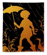 Golden Silhouette Of Child And Geese Walking In The Rain Fleece Blanket