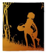 Golden Silhouette Of Child With Basket Walking In The Woods Fleece Blanket