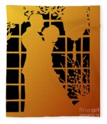 Golden Silhouette Of Couple Embracing Fleece Blanket