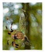 Golden Silk Spider Fleece Blanket