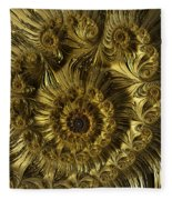 Golden Spiral Fleece Blanket