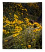 Golden Spring Flowers  Fleece Blanket