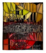Golden Stained Abstract Fleece Blanket