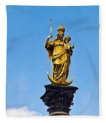 Golden Statue Of The Virgin Mary In Munich Germany Fleece Blanket