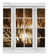 Golden Sun Silhouetted Tree Branches White Window View Fleece Blanket