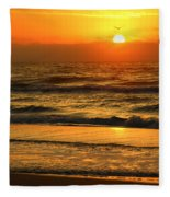 Golden Sun Up Reflection Fleece Blanket