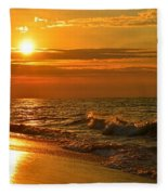 Golden Sunrise Colors With Waves And Horizon Clouds On Navarre Beach Fleece Blanket