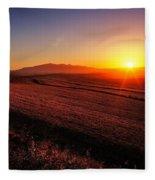 Golden Sunrise Over Farmland Fleece Blanket