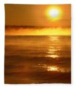 Golden Sunrise Over The Water Fleece Blanket