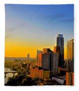 Golden Sunset In Austin Texas Fleece Blanket