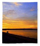 Golden Sunset On The Harbor Fleece Blanket