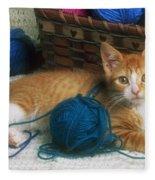 Golden Tabby Kitten Fleece Blanket