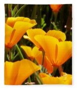 Golden Poppies Fleece Blanket
