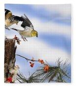 Goldfiches Flying Over Lichen Stump Fleece Blanket