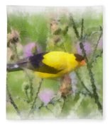 Goldfinch #3 By Kerri Farley Fleece Blanket
