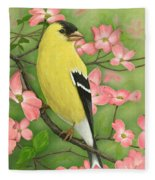 Goldfinch And Dogwood Fleece Blanket