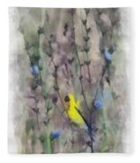 Goldfinch In Wildflowers Fleece Blanket