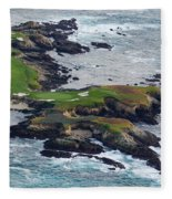 Golf Course On An Island, Pebble Beach Fleece Blanket