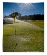 Golf Course Sprinkler On Sunny Day Fleece Blanket