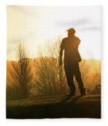 Golfer At Sunset Fleece Blanket