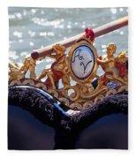 Gondola Bench Seat With Cherub Decoration Venice Italy Fleece Blanket