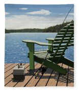 Gone Fishing Aka Fishing Chair Fleece Blanket