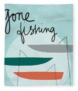 Gone Fishing Fleece Blanket by Linda Woods