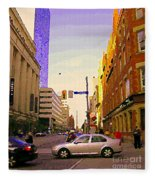 Good Morning Drive By Yonge St Starbucks Toronto City Scape Paintings Canadian Urban Art C Spandau  Fleece Blanket