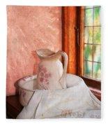 Good Morning- Vintage Pitcher And Wash Bowl  Fleece Blanket