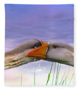 Goose Kiss - Featured In Comfortable Art - Nature Wildlife - Wildlife Groups Fleece Blanket