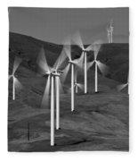 Gorge Windmills B W Fleece Blanket