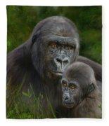 Gorilla And Baby Fleece Blanket